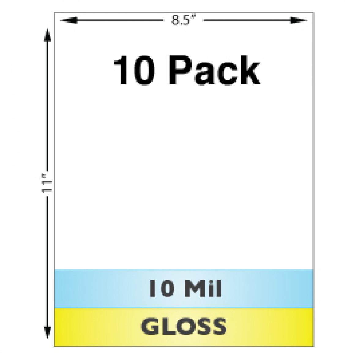 10 Mil Gloss Full Sheet Laminates - 10 Pack