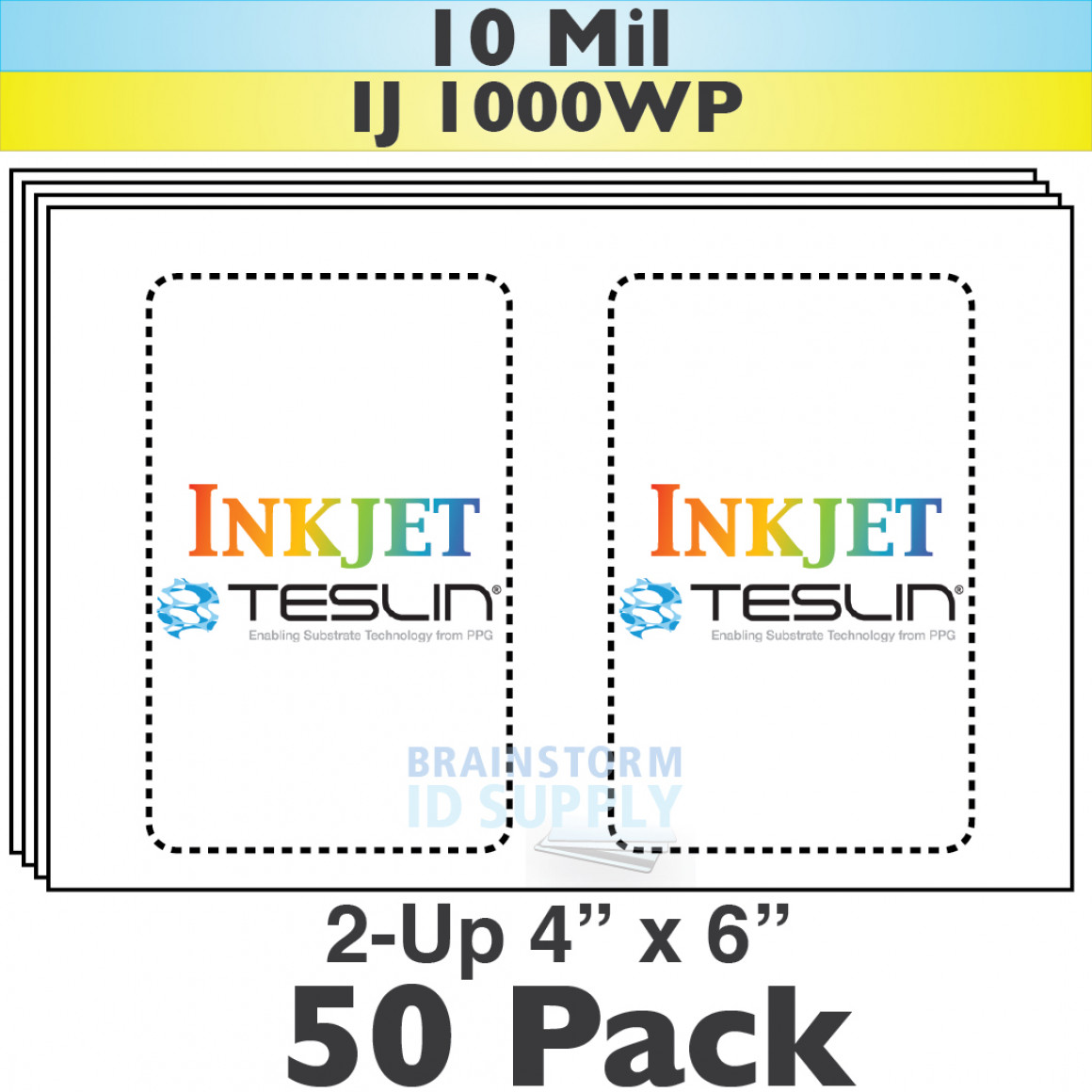 Inkjet Teslin 2Up Perforated 4x6 Sheets - 50 Pack