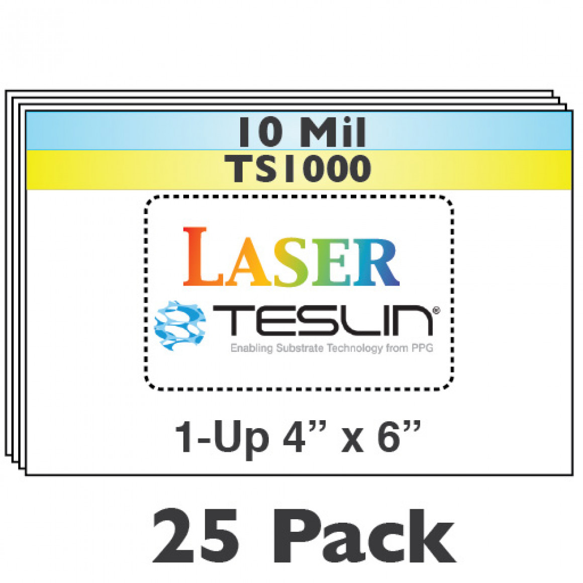 Laser Teslin 1-Up Perforated 4x6 Sheets - 25 Pack