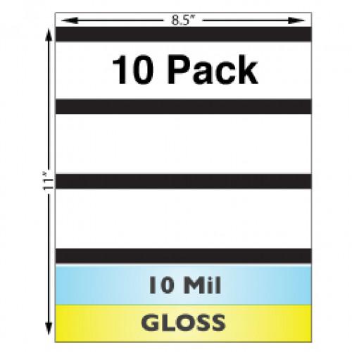 "10 Mil Gloss w/ 1/2"" HiCo Mag Stripe Full Sheet Laminate - 10 Pack"