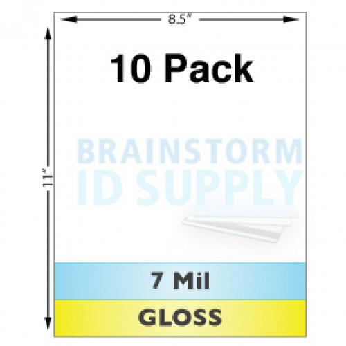 7 Mil Gloss Full Sheet Laminate - 10 Pack