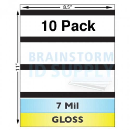 "7 Mil Gloss w/ 1/2"" HiCo Mag Stripe Full Sheet Laminate - 10 Pack"