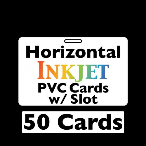 50 Inkjet PVC Cards - w/ Slot (Horizontal)
