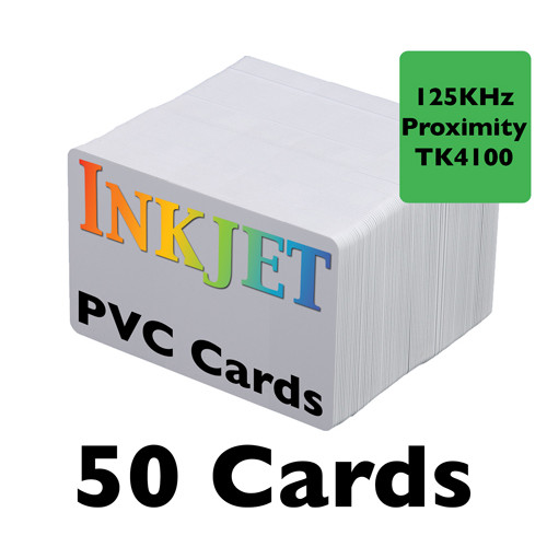 50 Inkjet PVC Cards with 125KHz Proximity Chip (TK4100)