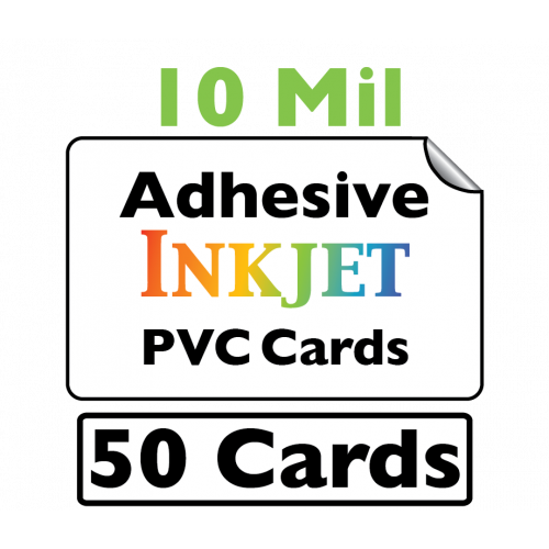 50 Inkjet PVC Cards with Adhesive Backing (10 Mil)