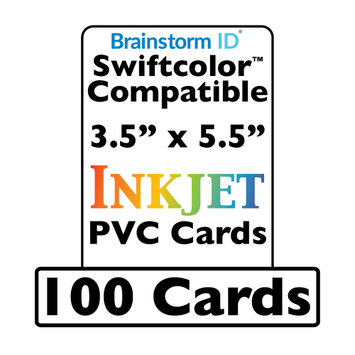 100 Conference Badge Size Inkjet PVC Cards (3.5 x 5.5 inch) - For Swiftcolor Large Format Printers