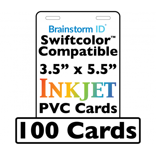 100 Conference Badge Size Inkjet PVC Cards (3.5 x 5.5 inch) w/ 2 Slots - For Swiftcolor Large Format Printers