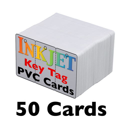 50 Inkjet PVC Key Tag Cards - 3-Up with Holes