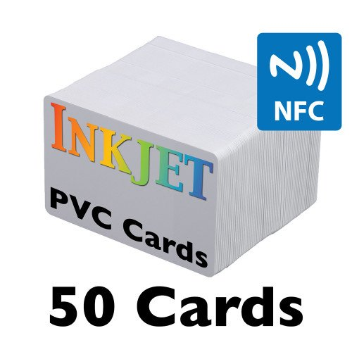 50 Inkjet PVC Cards with NFC Chip (NTAG215)