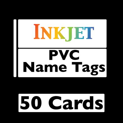 50 Inkjet PVC Name Tag Cards - 2-Up