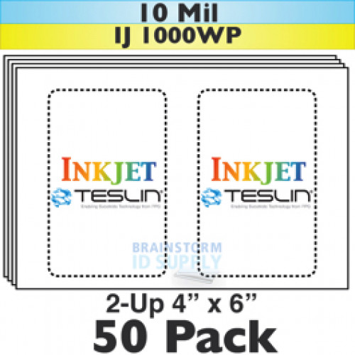 "Inkjet Teslin 2-Up Perforated 4"" x 6"" Sheets - 50 Pack"