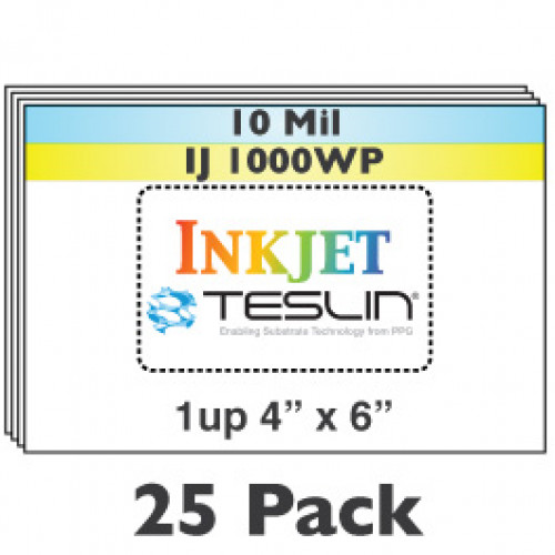 "Inkjet Teslin 1-Up Perforated 4"" x 6"" Sheets - 25 Pack"
