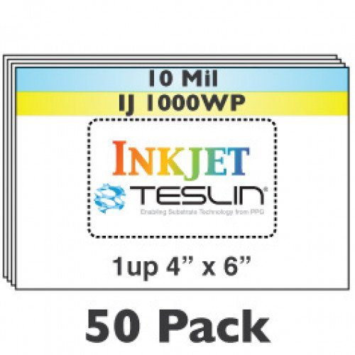 "Inkjet Teslin 1-Up Perforated 4"" x 6"" Sheets - 50 Pack"