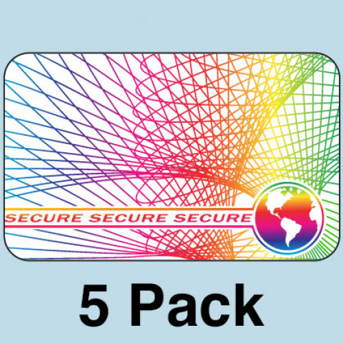 Secure w/ Web and Earth Hologram Overlays - 5 Pack